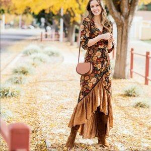 Anthropologie farm rio ruffle Madrid wrap dress